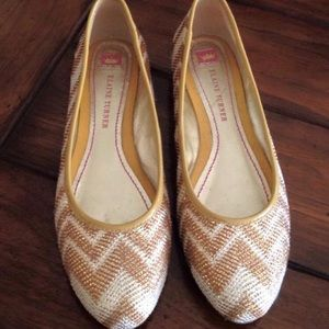 Gold and white flats